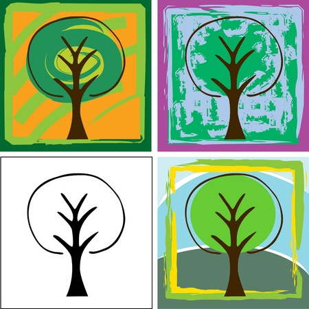 Set of four abstract tree illustrations for backgrounds, logos or icons