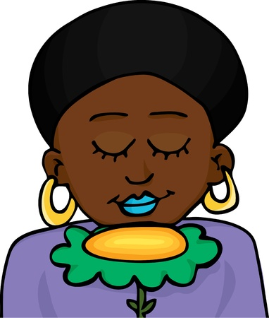 Beautiful Black-skinned woman with natural afro hairdo smells a big yellow flower Vector