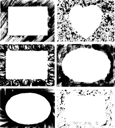 Six hand-drawn ink rectangular, oval and heart-shaped frames Vector