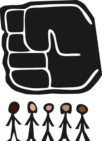 小さな多様なグループの人々 の上の力の巨大な拳がハングします。