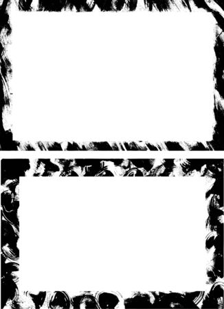 Pair of rectangular grunge backgrounds from original ink drawings