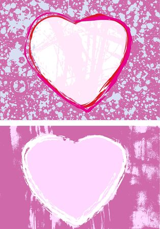 pair of hand-drawn ink heart-shaped grunge style frames