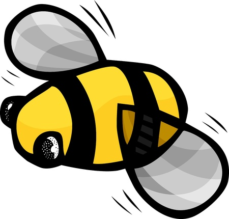 buzz: cute bumblebee with fast moving wings isolated on a white background Illustration