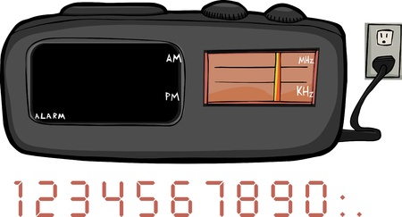 appliance: Alarm clock radio with blank areas for time and frequency