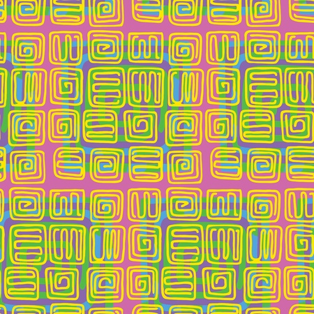 Seamless pattern of spirals with an indigenous pop-art style