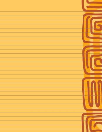 紙文具暖かいアステカ グリフとトーンの裏地  イラスト・ベクター素材