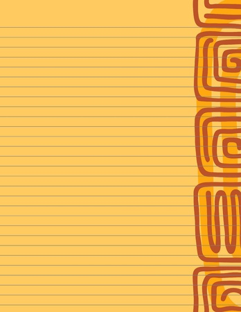 Lined paper stationery with warm Aztec glyphs and tones Stock Vector - 9591446