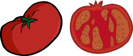 One large tomato illustration with a sliced version