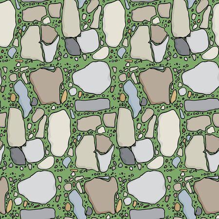 piedra laja: Patr�n transparente con varios tipos de piedra en pasto verde Vectores