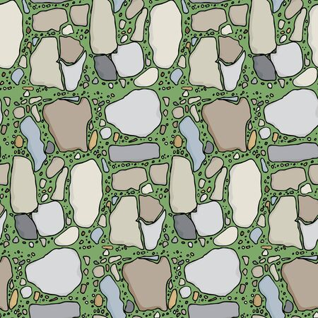 Seamless pattern with various types of stone in green grass Vector