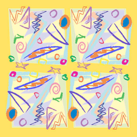 Seamless square, scribble and obtuse angle background pattern Çizim
