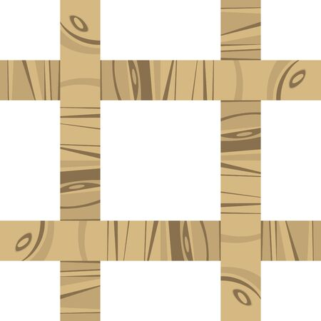 square shape: Seamless thin wooden lattice pattern isolated on white
