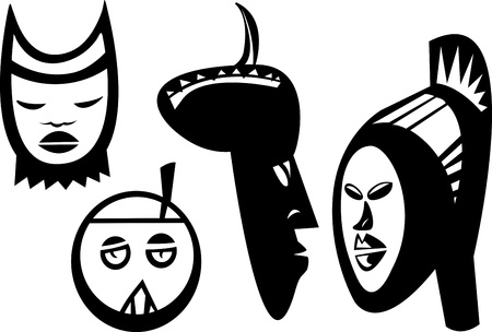 Four African masks and statues inspired from Bwa, Bolo and Bateba cultures of Sudan Vector