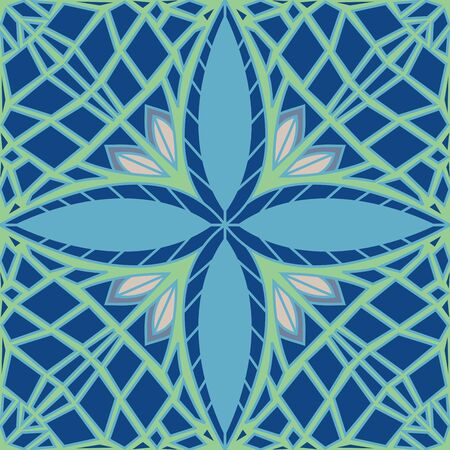 Seamless ornate mint leaf pattern in cool winter colors Ilustrace