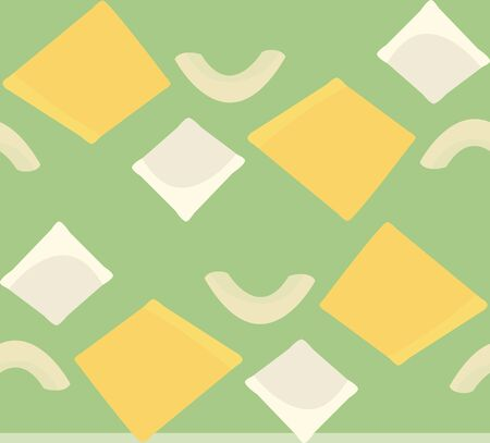 Seamless pattern of ravioli and elbow noodles Illustration