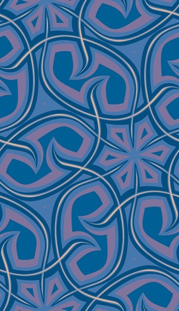 Seamless background pattern of wavy spines in blue tones.