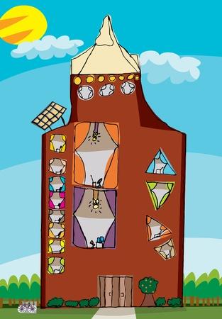 condominium: Scribble drawing of a tall condominium with solar panels Illustration
