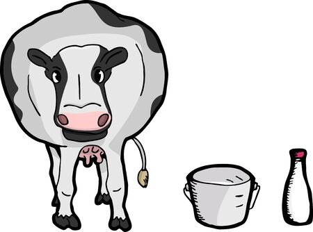 Cute fat dairy cow with pail and bottle of milk