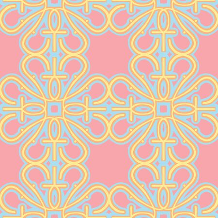 Seamless pink wallpaper pattern with yellow, orange and blue candy colors