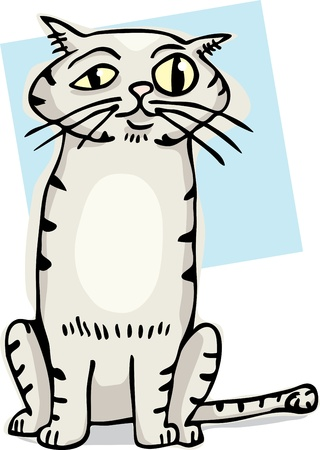 Cute striped cat with bulging eye cartoon. Ilustrace