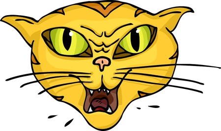 Angry green-eyed striped cat hisses and spits