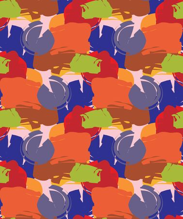 Seamless wallpaper pattern of bright paint dabs over pink