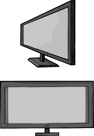 Isolated cartoon of a widescreen flat panel HD television monitor