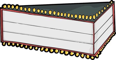 大きい空のムービー劇場マーキーのためのテキストの 3 行  イラスト・ベクター素材