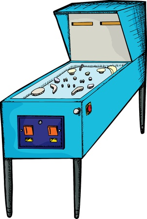 Illustration of a generic design pinball machine with blank skin Ilustrace