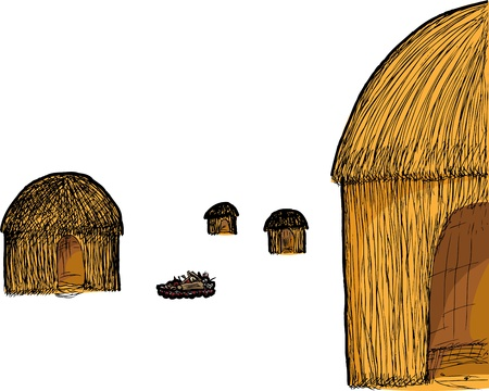 Illustration of four traditional straw huts and a fire pit