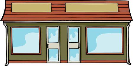 store window: Twee verbonden commerciële etalages met lege borden en ramen