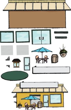 部品ストア、オフィスやカフェを作成すると空白の商業ビル  イラスト・ベクター素材