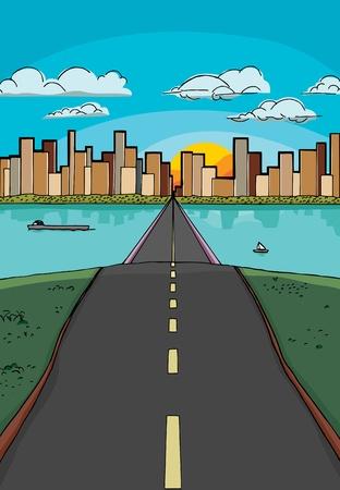 長い丘の上の道の都市に