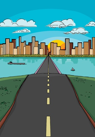 bump: Long road over a hill leads to a city