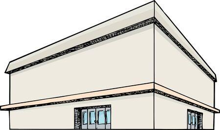 Blank generieke groot warenhuis op wit wordt geïsoleerd Stock Illustratie