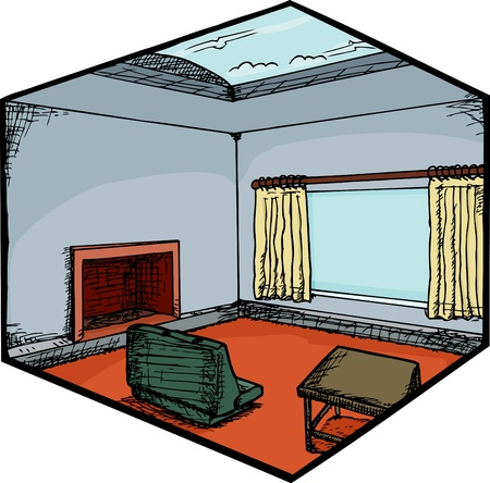 Modern home living room with skylight scene Vector