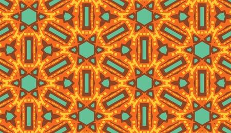 温かみのある色調のアラビア様式のシームレスな万華鏡壁紙パターン  イラスト・ベクター素材