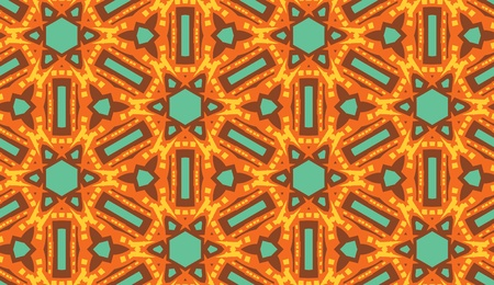 Arabic style seamless kaleidoscope wallpaper pattern in warm tones