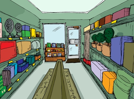 convenient store: Small hardware store with unlabeled boxes and merchandise Illustration