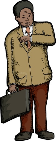 Heavyset businessman checks the time on his wristwatch