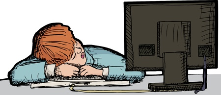 Young male worker asleep at a desk with computer Illustration