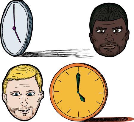 five o'clock: Set of wordplay illustrations of a five o clock shadow