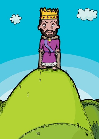 hill of the king: Illustration of the idiom King of The Hill