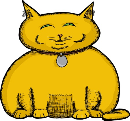 Isolated fat cat illustration about greed and selfishness