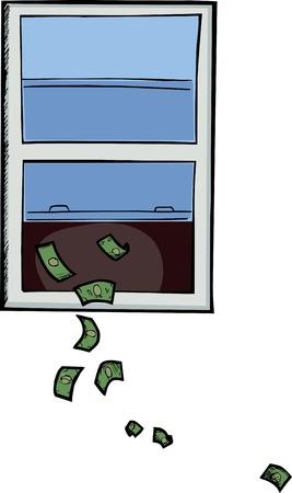 Illustratie over het verspillen of het gooien van geld uit het raam Stockfoto - 10257388