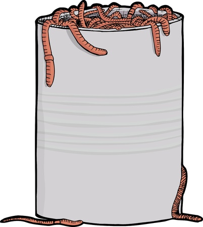 Dozens of worms squirm around a metal can Illustration