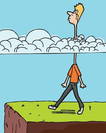 雲の中の長い首を持つ棚に向かって歩く男