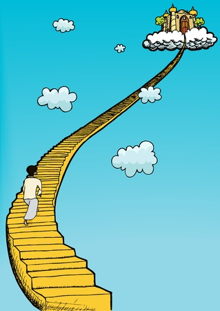 Person in gown climbs golden staircase to heaven