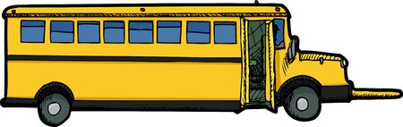 Long school bus with open door and crossing arm