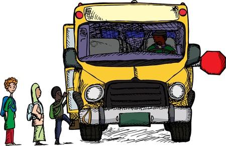 chofer de autobus: Grupo diverso de niños a bordo de un autobús escolar amarillo grande